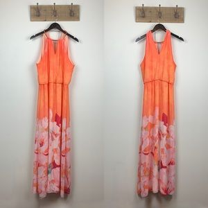 Bisou Bisou Orange Floral Halter Maxi Dress